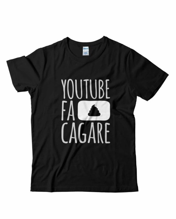 Youtube-fa-cagare-tshirt-ufficiale-nera-tubeshop-italia-youtube